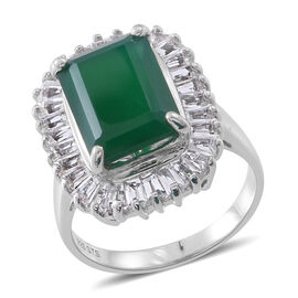 Verde Onyx (Oct 7.20 Ct), White Topaz Ring in Rhodium Plated Sterling Silver 12.950 Ct.