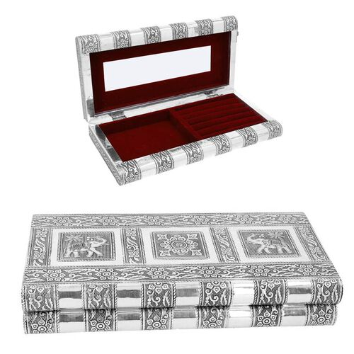 Elephant Embossed Jewellery Storage Box with Wine Red Velvet Lining (Size 27x13x5 Cm)