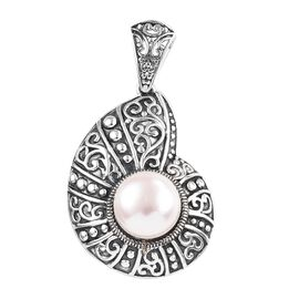One Time Mega Deal-Freshwater Pearl (Rnd) Pendant in Sterling Silver, Silver wt 5.25 Gms