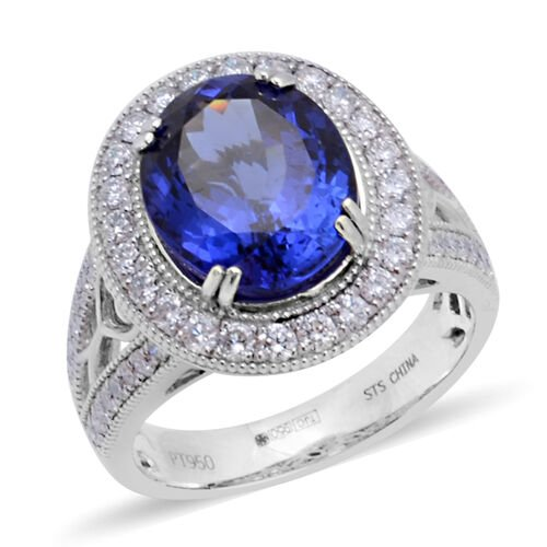 RHAPSODY 950 Platinum AAAA Tanzanite (Ovl 12x10 mm), Diamond (VS/E-F) Ring 6.11 Ct, Platinum wt 9.51