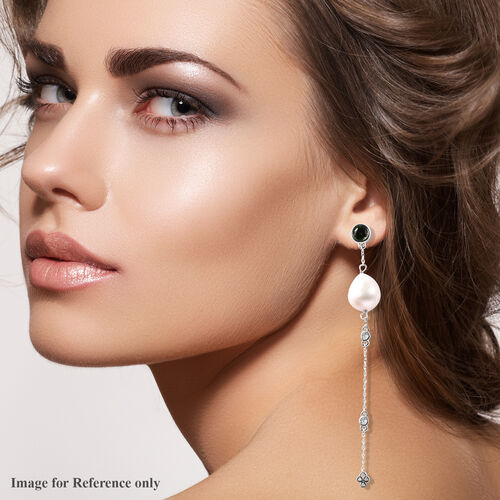 Isabella Liu Twilight Collection - Baroque Edison Pearl, Diamond and Russian Diopside (1.76 Ct) Dangle Earrings (with Push Back) in Rhodium Overlay Sterling Silver