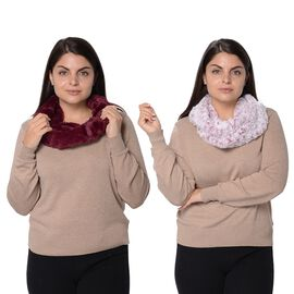 Set of 2 - Solid Colour and Rose Pattern Faux Fur Winter Collar Scarf (Size 17.8x157.4 Cm) - Wine Re