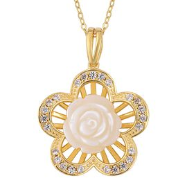 White Mother of Pearl and Natural White Cambodian Zircon Floral Pendant with Chain in Gold Overlay S