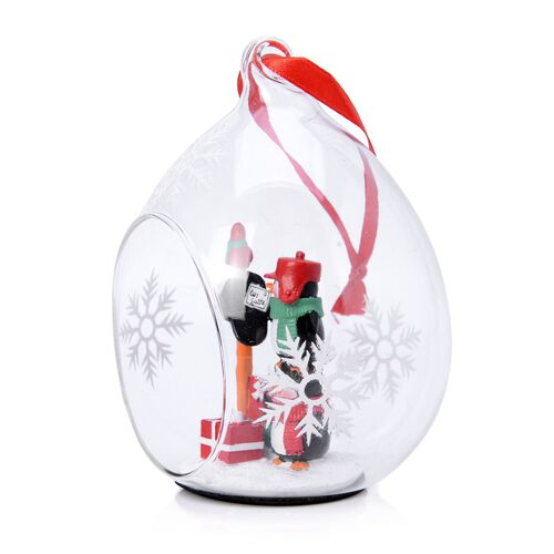 Home Decor Set of 2 - Snowflake Glass Ornament with Two Penguins Inside (Size 11X7 Cm)