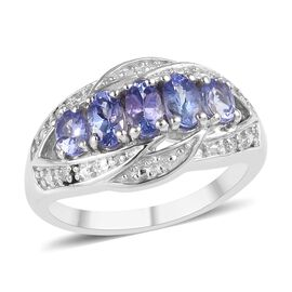 Tanzanite and Diamond 5 Stone Ring in Platinum Plated Sterling Silver 1.15 Ct