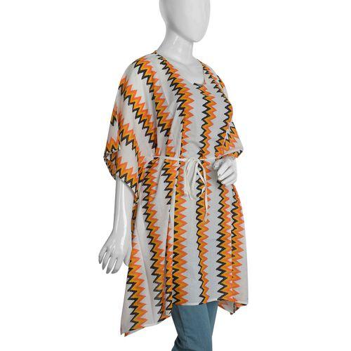 100% Cotton Ornage and Multi Colour Chevron Print Poncho (Size 100x90 Cm)