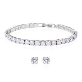 Easter Friday Mega Deal-2 Piece Set - Simulated Diamond (Rnd) Bracelet (Size 7.50) and Stud Earrings in Silver Plated