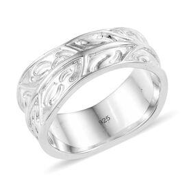 Platinum Overlay Sterling Silver Engraved Leaf Design Band Ring