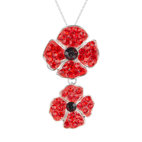 Black and Red Austrian Crystal (Rnd) Double Poppy Flower Brooch Cum Pendant With Chain (Size 20) in Silver Plated.