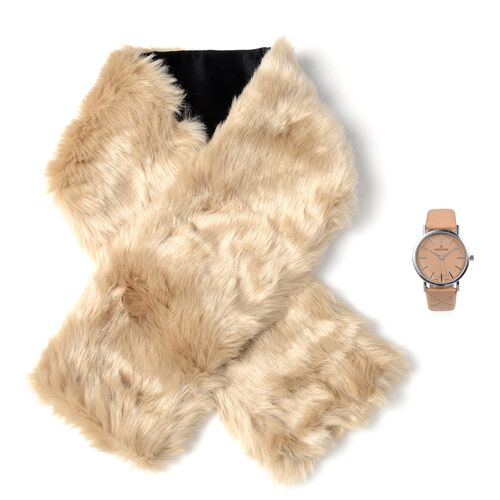 STRADA Japanese Movement Watch with Camel Colour Strap and Beige Colour Faux Fur Scarf (Size 100x15