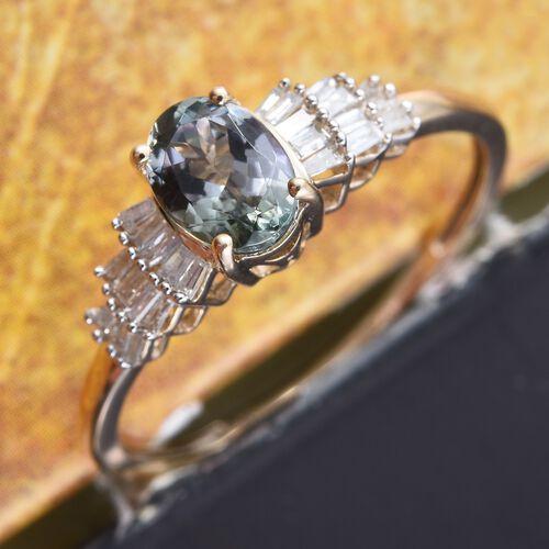 9K Y Gold Green Tanzanite (Ovl 1.00 Ct), Diamond Ring 1.150 Ct.