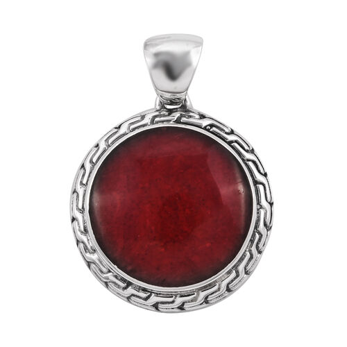 Royal Bali Sponge Coral Solitaire Pendant in Sterling Silver 6.72 Grams