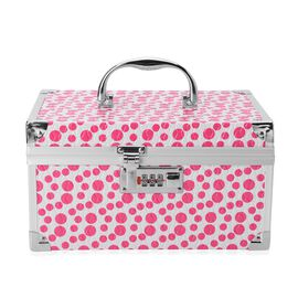 Pink and White Colour Polka Dots Pattern Jewellery Box with Mirror Inside (Size 25x17x14 Cm)