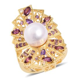 LucyQ Limited Edition Edison Pearl (Rnd 10-10.5 mm), Multi Gemstone Ring in Yellow Gold Overlay Ster