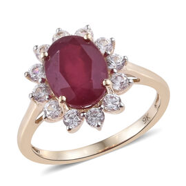 9K Yellow Gold AA African Ruby (Ovl 9x7 mm), Natural White Cambodian Zircon Ring  3.00 Ct.