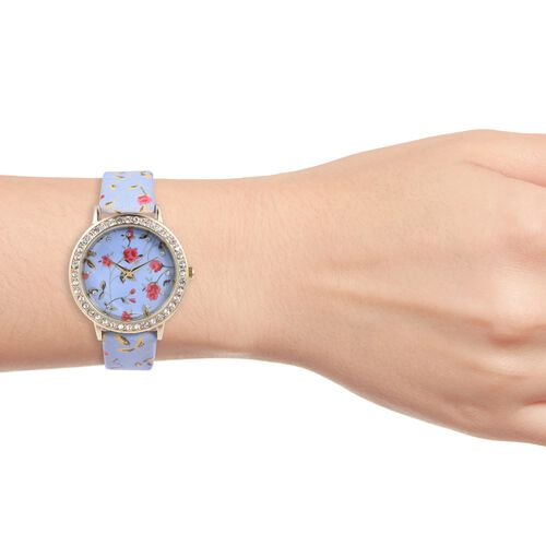 STRADA Japanese Movement Water Resistant White Austrian Crystal Studded Floral Pattern Watch with Light Blue Strap