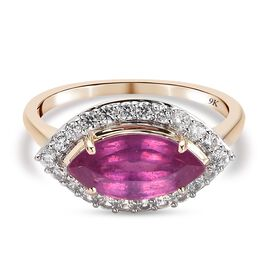 9K Yellow Gold African Pink Ruby (FF) and Natural Cambodian Zircon Ring 2.93 Ct.