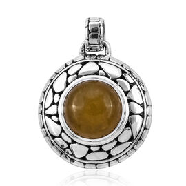 Bali Legacy Collection Yellow Jade (Rnd) Pendant in Sterling Silver 11.540 Ct, Silver wt 7.90 Gms