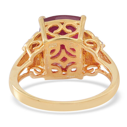 African Ruby (Cush 6.84 Ct), Burmese Ruby and White Zircon Ring in 14K Gold Overlay Sterling Silver 7.000 Ct.