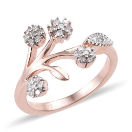 Diamond (Rnd) Floral Ring in Rose Gold Overlay Sterling Silver 0.200  Ct