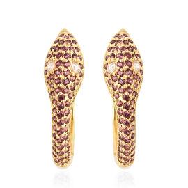1.26 Ct Rhodolite Garnet Snake Hoop Earrings in Gold Plated Silver 6.30 Grams
