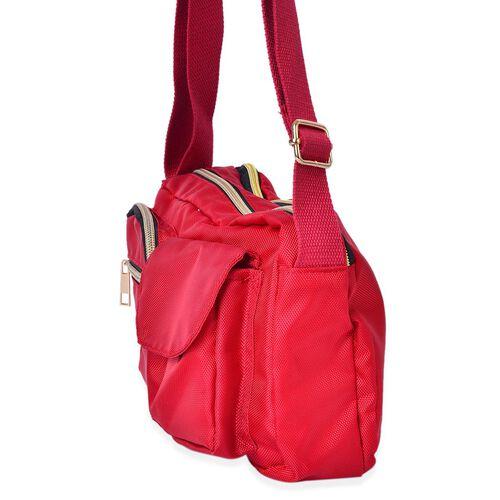 Red Colour Multi Pocket Waterproof Crossbody Bag with Adjustable Shoulder Strap (Size 25X17X8 Cm)