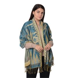 Blue and Gold Colour Floral Pattern Winter Scarf (Size 68x170x7.6 Cm)
