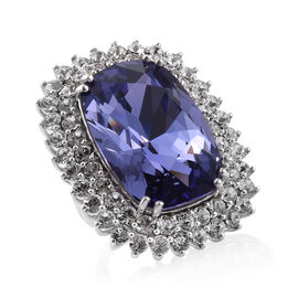 J Francis - Crystal from Swarovski Tanzanite Colour Crystal (Cush 27x18 mm), White Crystal Ring in Platinum Overlay Sterling Silver, Silver wt 10.80 Gms.