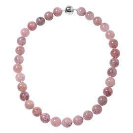 Strawberry Quartz Beaded Necklace in Rhodium Plated Sterling Silver 5 Grams 20 Inch