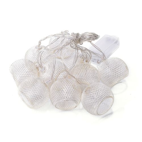 Set of 10 - Silver Colour Christmas Round LED String Lights