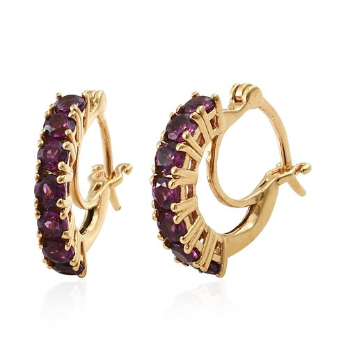 Purple Garnet Hoop Earrings (with Clasp) in Gold Plated Silver 1.75 Ct