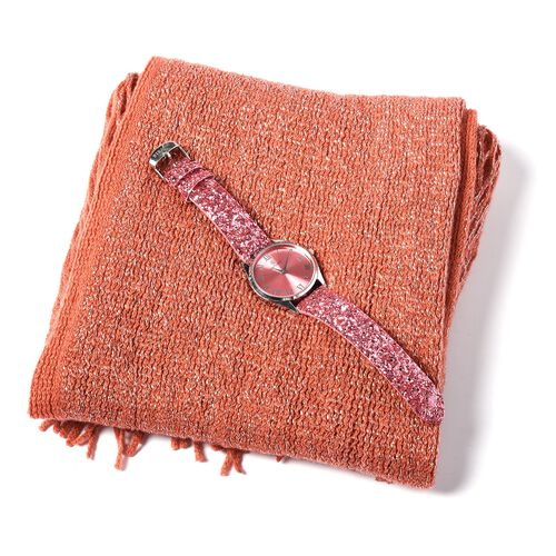 Set of 2- Tangarine Colour Magic Scarf with Silver Threads (Size 170x20 Cm) and STRADA Japanese Movement Water Resistant Watch with Dark Pink Colour Sequin Strap.