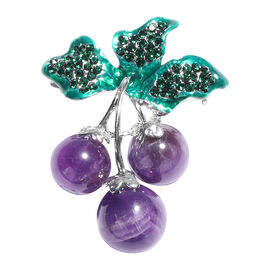 Amethyst and Green Austrian Crystal Enamelled Berry Brooch in Silver Tone