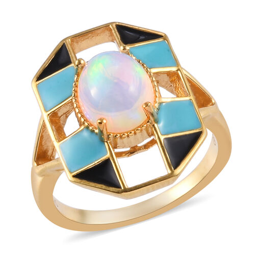 GP Ethiopian Welo Opal (Ov9x7) and Blue Sapphire Enamelled Ring in 14K Gold Overlay Sterling Silver
