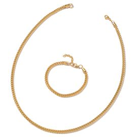 Stainless Steel Fancy Curb Necklace (Size 24) and Bracelet (Size 8) in Yellow Plating