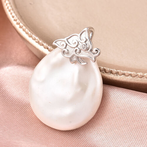 Baroque Pearl and Natural Cambodian Zircon Pendant in Rhodium Overlay Sterling Silver