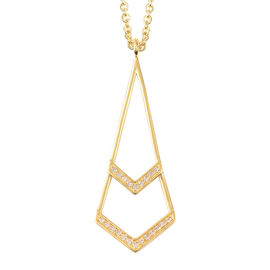 LucyQ Art Deco Collection - Natural White Cambodian Zircon (Rnd) Pendant with Chain in Yellow Gold O