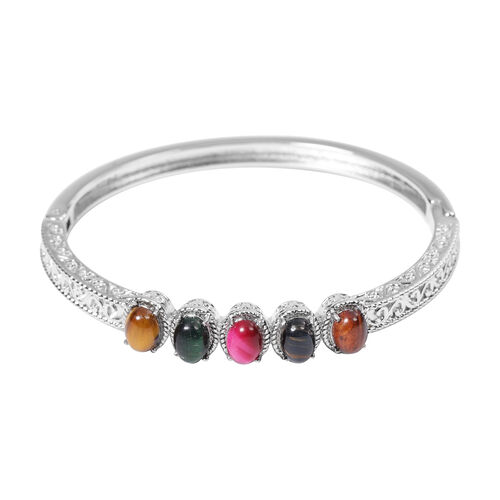Multi Tiger Eye Bangle (Size 7) in Stainless Steel 1.25 Ct.