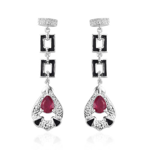 African Ruby Earrings (with Push Back) in Platinum Overlay Sterling Silver 1.75 Ct, Silver wt 5.00 G