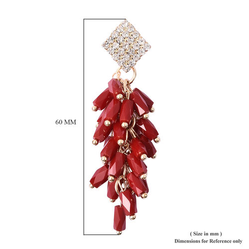 Simulated Ruby, White Austrian Crystal Dangling Earrings (with Push Back) in Gold Tone