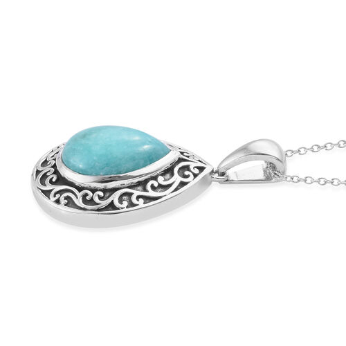 Natural Peruvian Amazonite (Pear 14x10 mm) Filigree Design Pendant With Chain (Size 20) in Platinum Overlay Sterling Silver 4.750 Ct, Silver wt 6.56 Gms