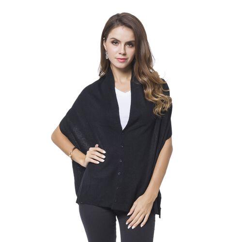 Designer Inspired Black Colour Buttons Embellished Shawl (Size 156X50 Cm)