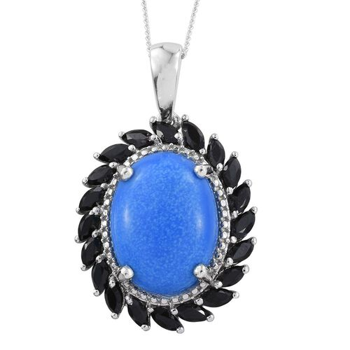 Ceruleite (Ovl 7.05 Ct), Boi Ploi Black Spinel Pendant With Chain (Size 18) in Platinum Overlay Sterling Silver 9.000 Ct.