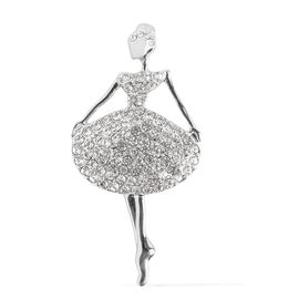 Austrian White and Black Crystal Ballerina Brooch with Magnet in Silver Plated