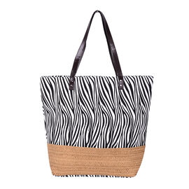 Zebra Pattern Tote Bag with Straw-Woven Design in White and Blue