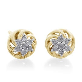 9K Yellow Gold 0.15 Carat Diamond (Rnd) Stud Earrings (with Push Back) SGL Certified (I3/G-H)
