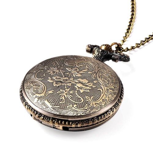 STRADA Japanese Movement Train Pattern Pocket Watch with Chain (Size 31) in Antique Bronze Plated