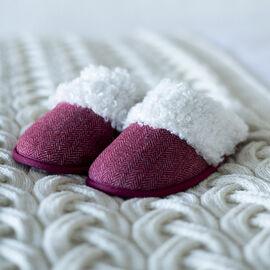 ARAN Tweed Slip-on Slippers with Fur Lining - Maroon