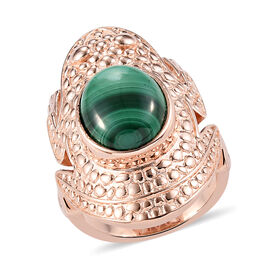 Malachite Frog Ring with Magnet in Rose Gold Tone 4.00 Ct.