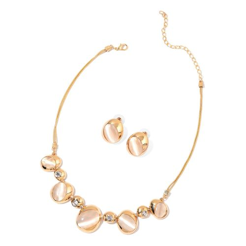 Simulated White Cats Eye and White Austrian Crystal Necklace (Size 20 with 2 inch Extender) and Stud Earrings (with Push Back) in Yellow Gold Tone